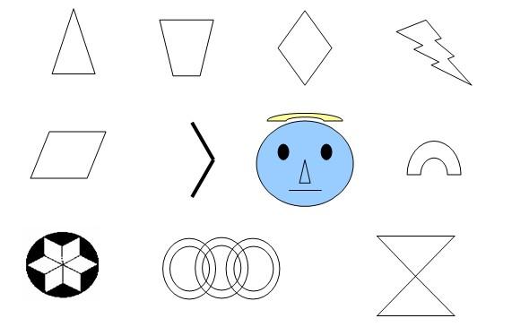 例1 (1)下面的数字或字母,哪些是轴对称图形?它们各有几条对称轴? 0 1 2 3 4 5 6 7 8 9 A B C D E F G H (2)像这样写法的汉字哪些是轴对称图形? 口 工 用 中 由 日 直 水 清 甲 例2 下列图形中,找出哪些是轴对称图形,请画出它们所有的对称轴。  例3 下面两个轴对称图形分别只画出一半。